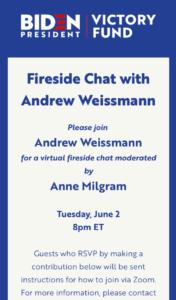 Mueller 'Pitbull' Andrew Weissmann To Head Biden Fundraiser On Zoom