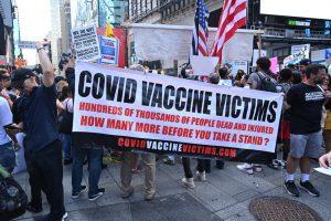 Anti-Vaxers Flood Times Square Opposing Psycho Jew Vax Agenda